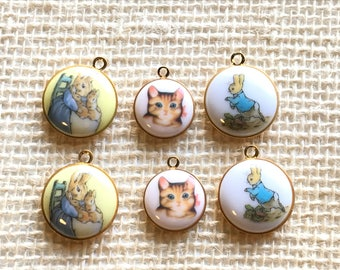 Vintage Peter Rabbit *JHB* [Kitty Cat] and Variety Charm Top Pack of 6. Great for Sewing, Craft supplies, etc.