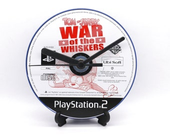 Tom and Jerry PlayStation 2 PS2 Upcycled CD Clock Video Game Collectable Gift Idea