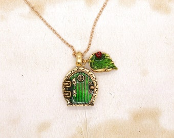 Hobbit Door Pendant With Ladybird On Leaf On Gold Tone Chain Necklace
