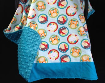 Car Seat Canopy/ Teal, aqua, orange, brown Owls, Mice, Hedgehog/ Infant car seat cover