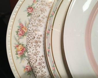 Mismatched China Dinner Plates - Set of 4 - Collection #129 / Vintage Pink & Gold Floral Dinnerware