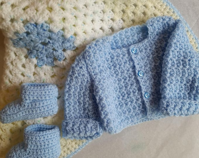 Baby Blue Clothing Set for Baby Boy | Crochet Baby Afghan | Baby Stocking Booties | Newborn |Crochet Cardigan | Baby Shower Gift | Handmade