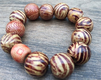 African hand painted wooden beaded bracelet