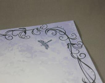 Dragonflies and Swirls over Purple Grunge Gradient Stationery