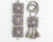 Crochet Bracelet Pattern - Crochet Necklace Pattern - Tassel Pendant - DIY Crochet Art Jewelry -Boho Chic Festival Wide Wrist Cuff - PDF