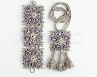 Crochet Jewelry Pattern - Crochet Bracelet and Necklace Pattern - Tassel Pendant - DIY Crochet Art Jewelry - Boho Chic Wrist Cuff - PDF
