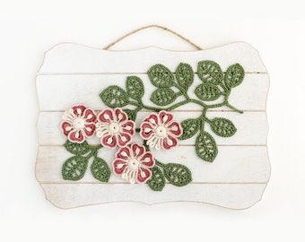 Crochet Flower Leaf Applique Pattern - Irish Crochet Flower Leaf Wall Decor - Crochet Embellishment - DIY Home Decor - PDF instant download