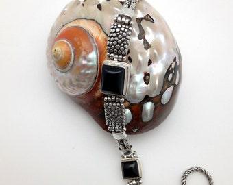 Sterling Silver, Black Onyx Bracelet