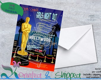 Hollywood Glam Girls Night Out Invitation; Postcard; PDF; E-Card