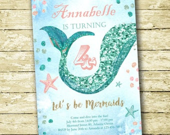 Mermaid Birthday Invitation, Instant Download PDF, Editable with Adobe Reader, Glitter Mermaid Party, DIY Digital Printable, Girl Invitation