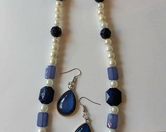 Blue and Pearl Necklace with Blue Teardrop Pendent