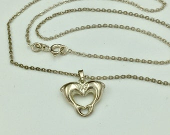 Vintage Dolphin Heart Necklace, Sterling Silver Dolphin Necklace, Heart Necklace, Sterling Silver Necklace, Charm Necklace, Signed 925 NV
