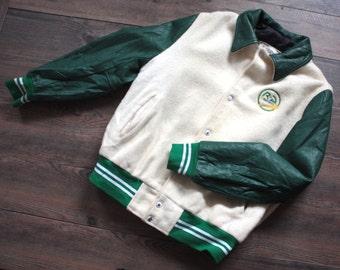 Vintage Varsity Jacket // White Wool and Green Leather Lettermen Bomber Jacket // Sports Jacket