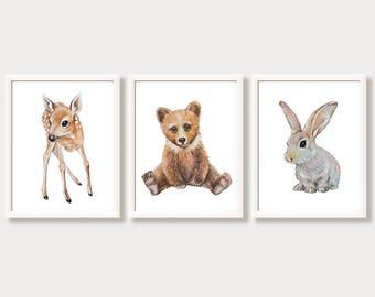 Animal Nursery Art Prints Woodland Nursery Decor Boy Girl Forest Animals Woodland Creatures Nursery Wall Art Watercolor Paintings Set of 3