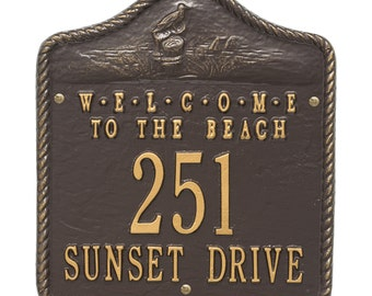 Welcome to the Beach Two Line Personalized Address Plaque