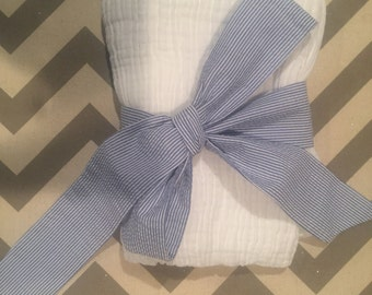 Baby Boy Receiving Blanket and Sash (monogram can be added)