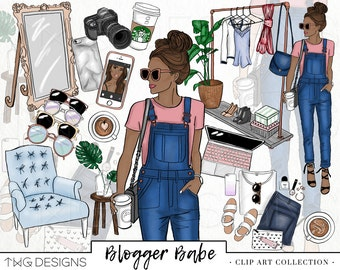 Fashion Girl Clip Art Glitter Watercolor Clipart PNG Trendy Blogger Hand Drawn Tumblr BOSS BABE Illustration Commercial Use Digital Download