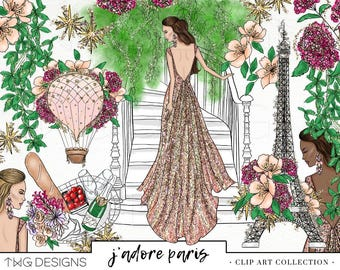 Fashion Girl Clip Art Watercolor Clipart PNG Paris Glitter Floral Gown Hand Drawn Babe Illustration Planner Sticker Graphics Basic License