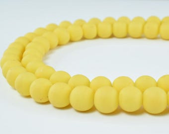 Glass Beads Matte Yellow Rubber Over Glass Size 8mm Round For Jewelry Making Item#789222046217