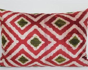 İkat Velvet Pillow Cover, 15'' x 22'' , Decorative Pillow, Handmade Silk Pillow, İkat Lumbar Pillow,  Shipping with Fedex 1-3 days