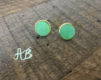 Druzy Earrings- Mint Green