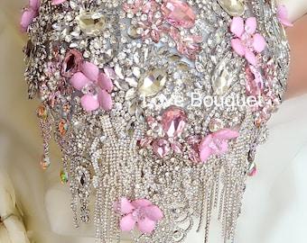 Bridal Bouquet, Wedding Dress, Wedding Brooch Bouquet, Wedding Jewelry, Crystal Bouquet, Silver Bouquet Pink Bouquet Vintage Wedding Bouquet