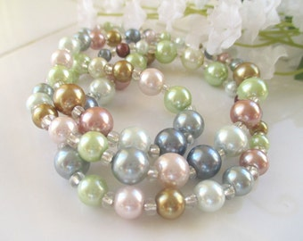 Bead Necklace * Faux Pearl * Multicolor * Gift For Her