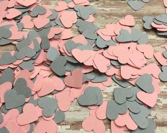 Heart Confetti, Light Pink Gray Confetti, baby girl shower, Wedding reception, invitation confetti, table scatter, pink heart confetti, grey