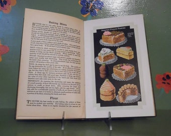 1925 Cakes and Pastries Cleve Carney Recipes Cookbook Pictures Desserts Shelf Kitchen Decor Mid Century Modern Retro Vintage Shabby Chic