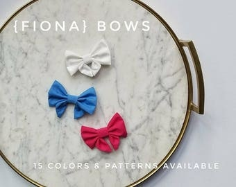 Fabric {Fiona} - 15 colors & patterns available//sailor bow//hair accessories//baby/toddler//fabric bows//baby girl hairbow