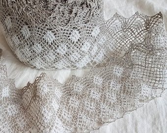 Wide linen lace off white color to natural flax grey, washed ready to use for DIY projects and vintage style decor, authentic soft lace trim