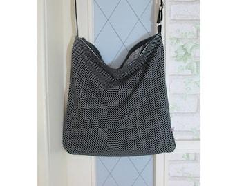 Shoulder bag fabric black dots