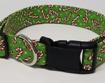 dog collar, green candycane 2, candycane, candy cane, christmas, christmas dog collar, holiday dog collar, holiday collar, xmas, xmas dog