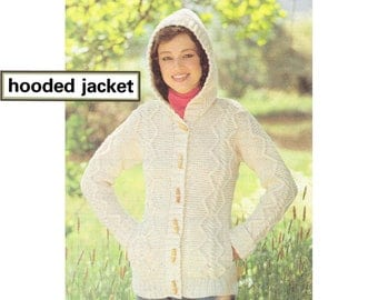 """PDF of vintage Aran/Irish knitting pattern, """"Hooded Jacket (with side pockets)"""", to fit bust sizes 32""""-42"""", from the U.K."""