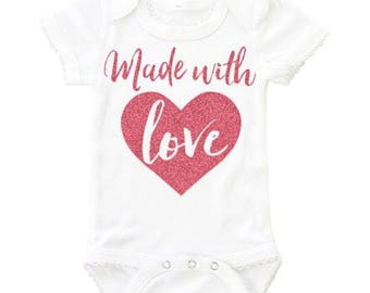 Made With Love | White BodySuit with Pink Glitter