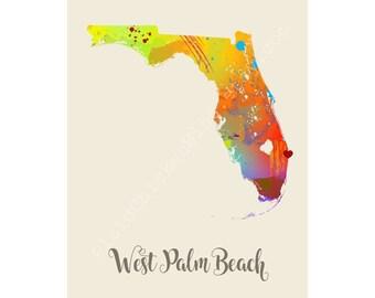 West Palm Beach Florida West Palm Beach Map West Palm Beach Print West Palm Beach Poster West Palm Beach Art West Palm Beach Gift