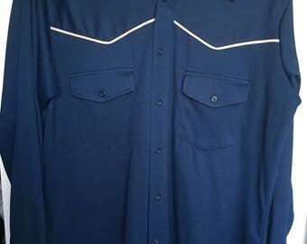 Vintage 70s disco western blue shirt