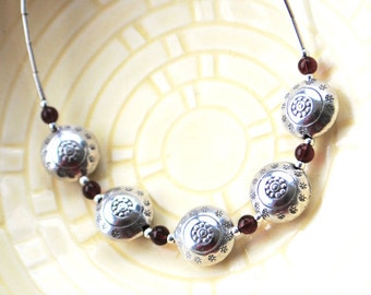 Thai Puffed Silver 5 Bead Necklace Sterling Silver Tube Beads Amethyst Plum Purple