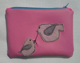 Purse / Vanity Bag pink Faux Leather, Bird Applique