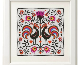 Good Morning! - Rooster - Chinese New Year 2017 - modern cross stitch pattern PDF - Instant download