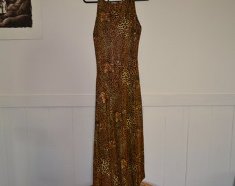 magnificent vintage metallic gold leopard print stretchy body hugging evening party disco dress geometric hemline size M