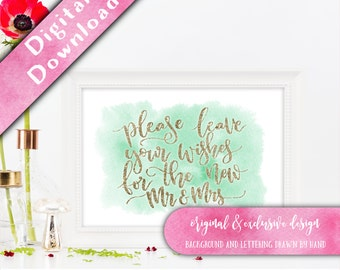 Guestbook Sign, Printable, Please Leave Your Wishes, Printable Guest Book Sign, Wedding Guestbook, Watercolour Signage, Guestbook Ideas