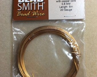 Wire, 20 gauge, gold wire with copper core, Beadsmith, 6 meters