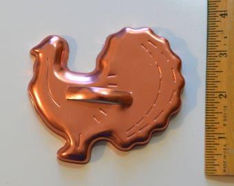 "Vintage MIRRO ALUMINUM TURKEY Cookie Cutter | 1980s 3.75"" x 3 5/8"" Anodized"