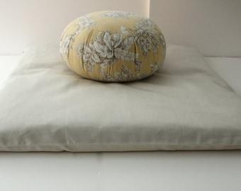 Meditation Cushion Set - Natural Zabuton & Beach Flower Buckwheat Zafu FREE U.S. Shipping!