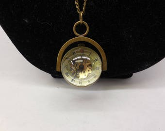 Antiqued Brass Vintage Time Piece Long Chain Pendent Necklace