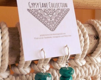 Natural Turquoise / solid silver earrings