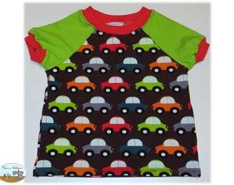Children Baby T-Shirt shirt Jersey cotton size 62-68 cars cars Brown Green