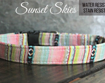 "Canvas Deluxe Dog Collar ""Sunset Skies"" Stain resistant