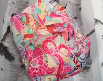 One size cloth diapers. One size pocket diaper, OS pocket diaper, pink floral cloth diaper, OS cloth diaper,